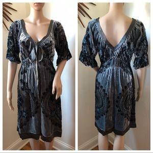 Hale Bob Silk Velvet Burnout Ruffle Beaded Dress